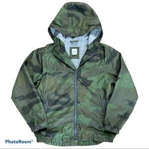 Boys Gap lined camo windbreaker rain jacket coat